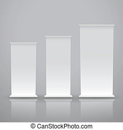 blank roll up banner on a grey background