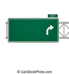 3d vector blank highway sign isolated on white