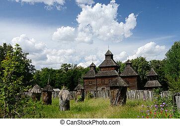 Resurrection wooden church with apiary from Poltavshina region