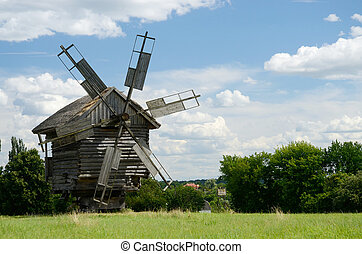 Traditional old Ukrainian rural windmill...