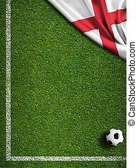Soccer field with ball and flag of England