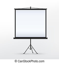 vector 3d blank projection screen template isolated on white...