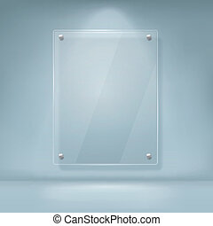 vector illustration of blank glass billboard with soft...