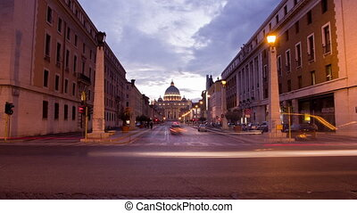 Timelapse of St. Peter's Square at the Vatican at night.