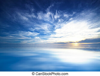 blue sky in the open sea, background
