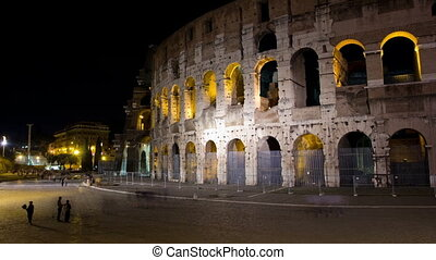 The Colosseum Time Lapse in Night. - The Colosseum or...