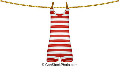 Swimsuit hanging on rope - Striped retro swimsuit hanging on...