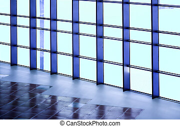 blue wall of office building - blue unusual geometric wall...
