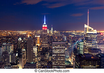 Aerial night view of Manhattan skyline - New York - USA