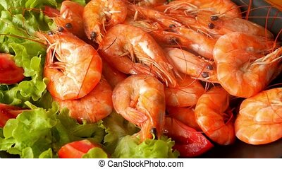Cooked Tiger Prawns served on the Plate with Vegetables...