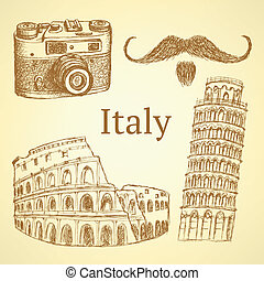 Sketch Italy set, vector vintage background eps 10