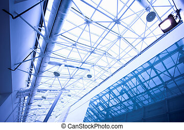 Blue glass ceiling in office centre