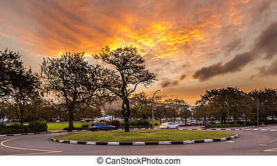 Roundabout at Stellenbosch - A small roundabout overlooking...