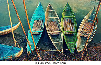 Group of colorful rowing boat, abstract curve - Group of...