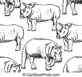 Sketch hippo and rhino, vector seamless pattern - Sketch...