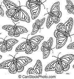 Sketch butterfly, vector vintage seamless pattern eps 10