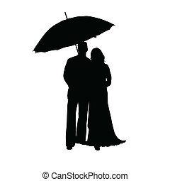 man and woman with umbrella silhouette