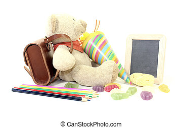 Back to School with Teddy - Teddy bear with school bag,...