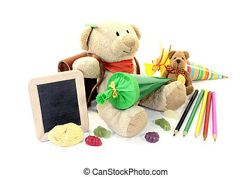 Back to School - Teddy bear with school bag, wallet and...