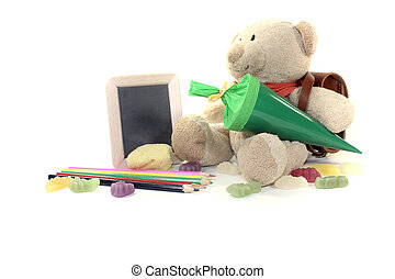 Back to School with blackboard - Teddy bear with school bag,...