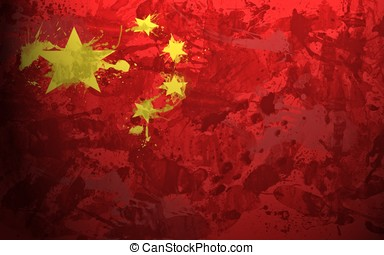 china flag stains background