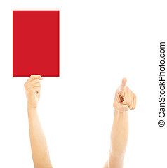Hand of referee with big red card and point the direction
