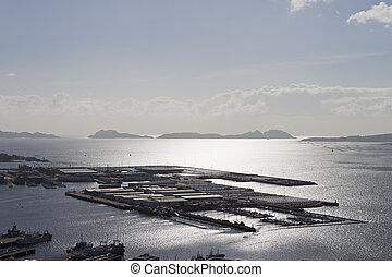 Vigo city trading port - Trading port in Vigo city with Cies...