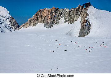 Base camp on Cosmique route, Chamonix, France