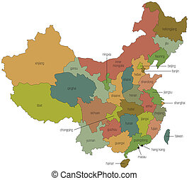 Map of China with Province Names - A multicolored map of...