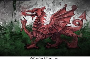 galles drapeau galles symbole dragon drapeau peintures