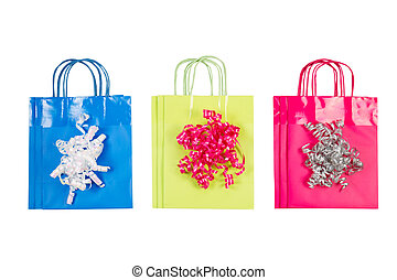 New Paper Shopping Bags on White - View of new shopping gift...