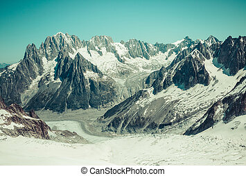 Mer de Glace (Sea of Ice) is a glacier located on the Mont Blanc