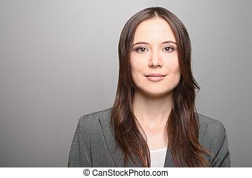 Beautiful woman with long brunette hair - Beautiful young...