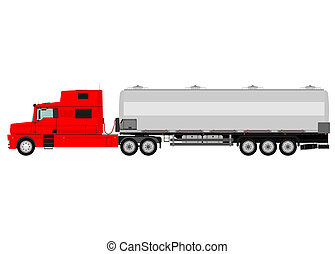 Cistern truck - Cartoon cistern truck isolated on a white...