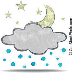 climate cloud, hail and Moon - grunge illustration of a...