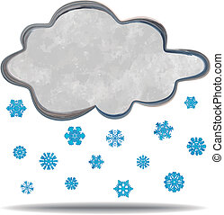 climate Cloud snowing - grunge illustration of a cloud and...