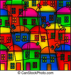 Stained Glass Village - Digitally created abstract style...