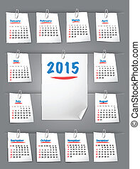 Calendar for 2015 on sticky notes attached with clip