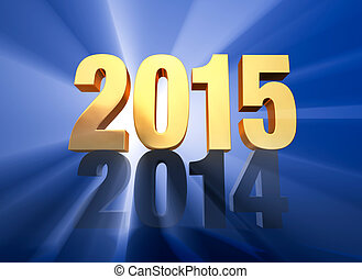 "2015 Replaces 2014 - A brilliantly backlit, gold ""2015"" sits..."