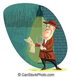 Detective - illustration of detective agent searching clues...