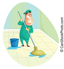 Sweeper - illustration of sweeper moping floor in vector