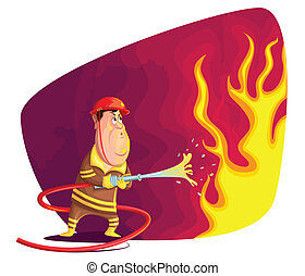 Firefighter - illustration of firefighter extinguishing fire...