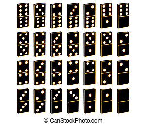 dominoes for different games on a white background