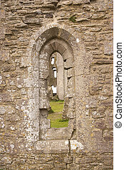 Window in Corfe castle, dorset, england