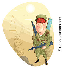 Army Man - illustration of army man with gun in vector
