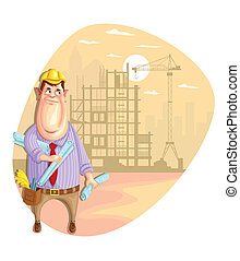 Architect - illustration of architect on construction site...