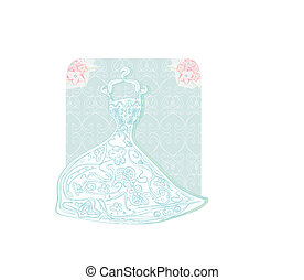 bridal dress with floral ornament card