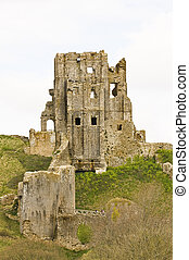 Corfe castle - decaying historical ruins of Corfe castle in...