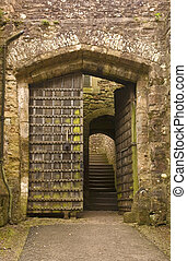 Entry to Dunster castle - Entry door to Dunster castle