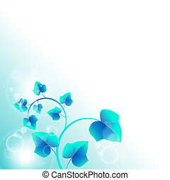 Abstract blue background with leaves and circles - vector...